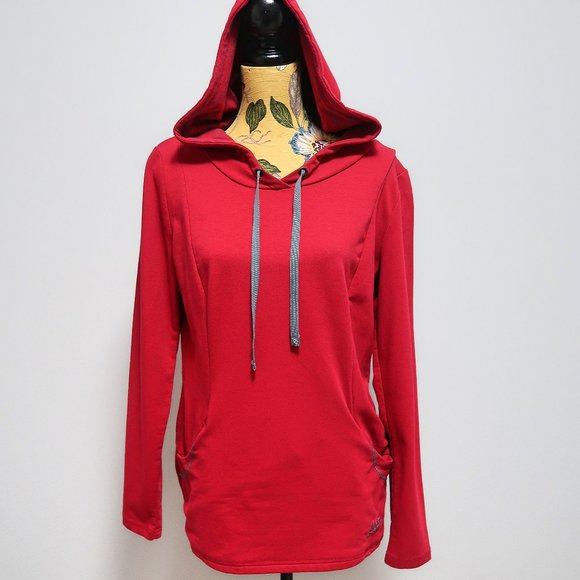 Roots Women's Plain Red Pull-over Hoodie Size M